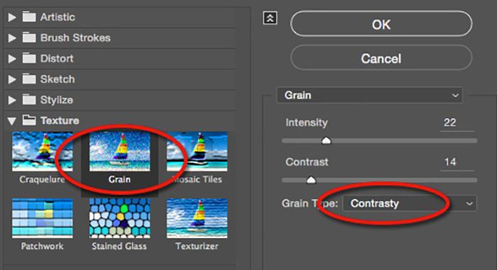 adjust contrast on grain filter in photoshop