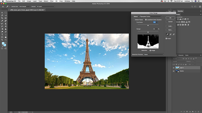 selecting a colour range in a photo with photoshop