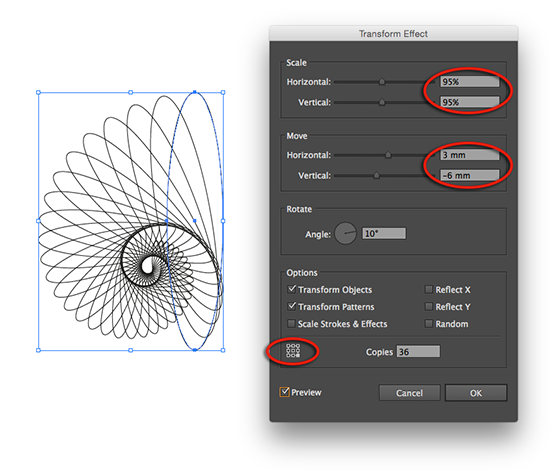adjusting angle copies and reference point