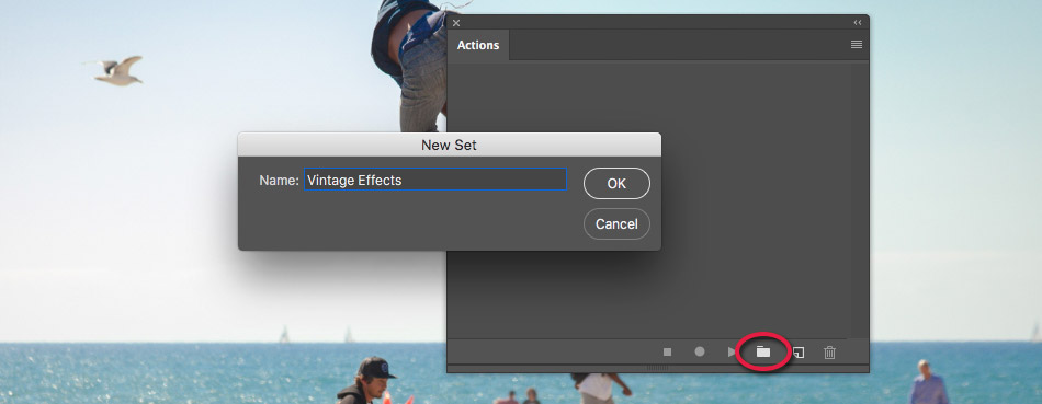 creating a new action set in photoshop
