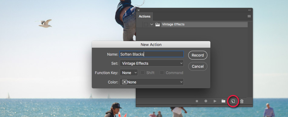 creating a new action in photoshop