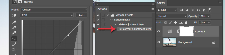 redefine settings in a photoshop action